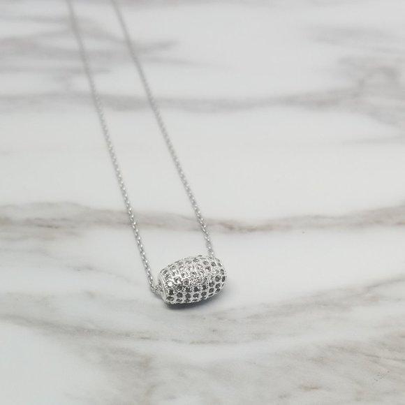 Sterling Silver Necklace w/Cubic Zirconia Barrel
